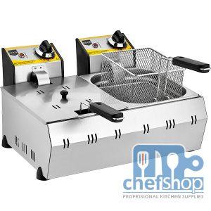 مقلى بطاطا حوضين يعمل على الكهرباء Electric potato fryer double well