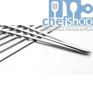 سيخ شوي مربع ستانلس ستيل 60 سم FLAT SKEWER stainless steel 60 cm bbq Skewers Reusable Stainless Steel Metal