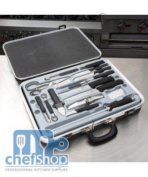 شنتة عدد سكاكين جزارة و حلويات سويسري 5.4923 Cooks case Victorinox 5.4923, Large / Fibrox handle