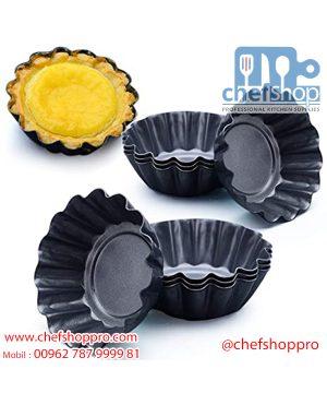 قالب تارت غير لاصق شكل ورده ايطالي High-carbon steel Non-Stick Flower Shaped Egg Tart Mold Cupcake And Muffin Mold