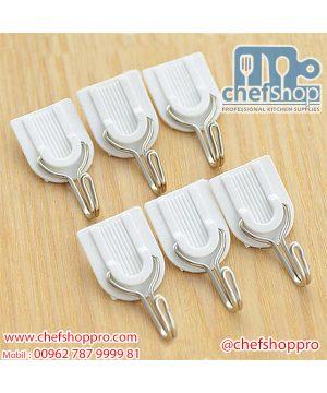 علاقة حائط بلاستيك Self Adhesive Wall Door Hook Hanger Bag Keys Bathroom Kitchen Sticky Holder New