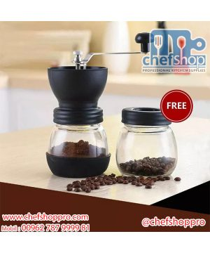 مطحنة قهوه يدويه / زجاج Coffee Grinder : Ceramic coffee bean grinder with canister set